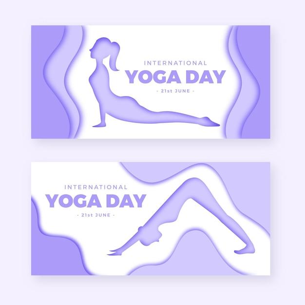 Международный день йоги баннер в бумажном стиле Бесплатные векторы
