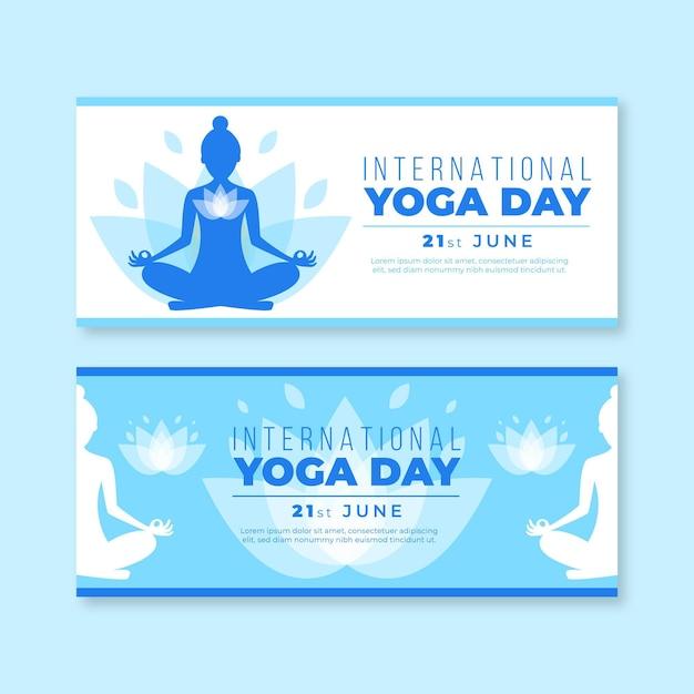 Международный день баннеров йоги Бесплатные векторы