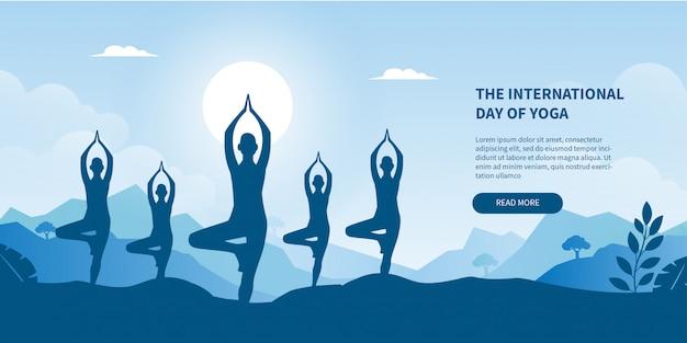 Международный день йоги концепции градиента баннера для целевой страницы Premium векторы