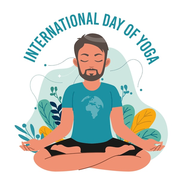 Международный день йоги с мужчиной Бесплатные векторы