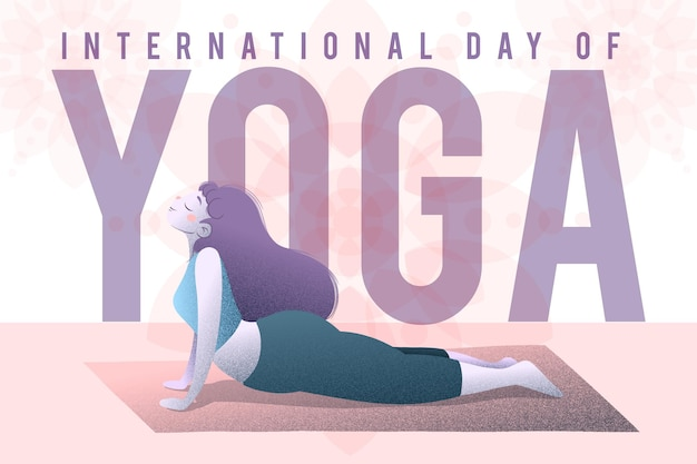 Международный день йоги с женщиной Бесплатные векторы