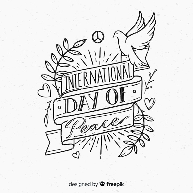 International day of peace composition hand drawn lettering Free Vector