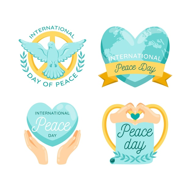 International day of peace labels collection Free Vector