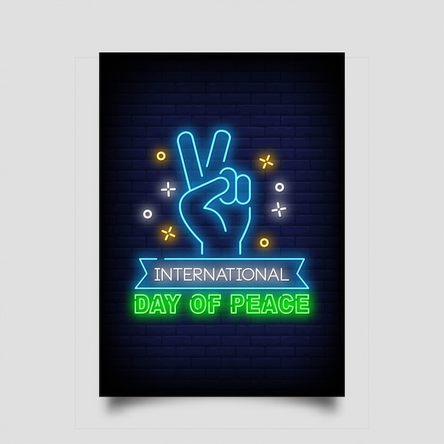 International day of peace neon sign style Premium Vector