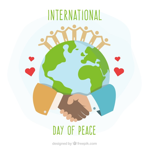 International day of peace, united hands around the world Free Vector
