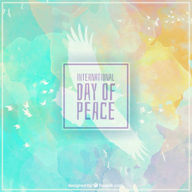 International day of peace on watercolors Free Vector