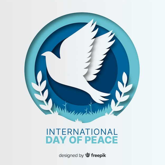 International day of peace with dove Premium Vector