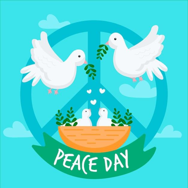 Giornata internazionale della pace con le colombe Vettore gratuito