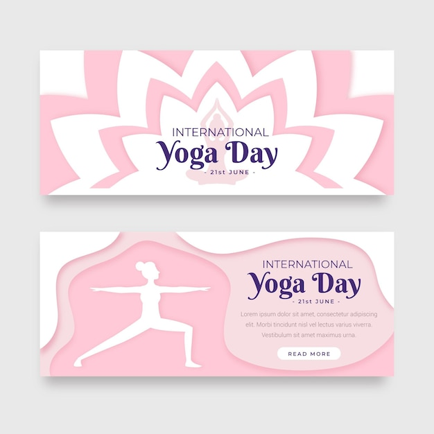 International day of yoga banner in paper style Free Vector