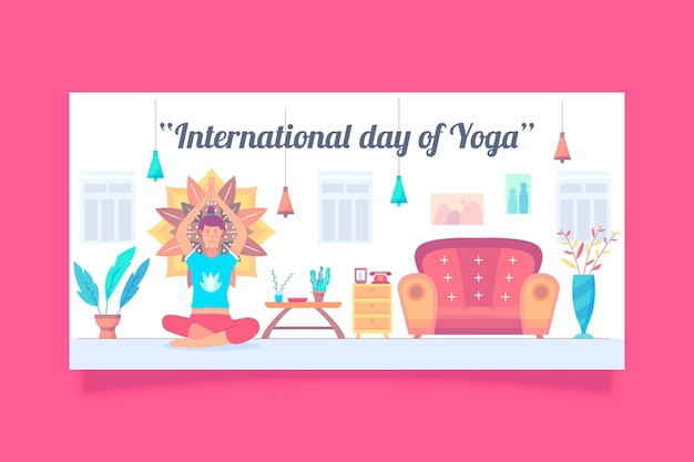 International day of yoga banner with person at home Free Vector