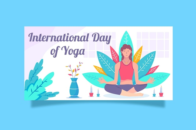 International day of yoga banner with woman Free Vector