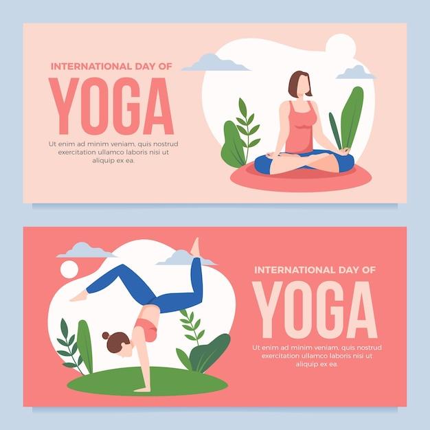 International day of yoga banner Free Vector
