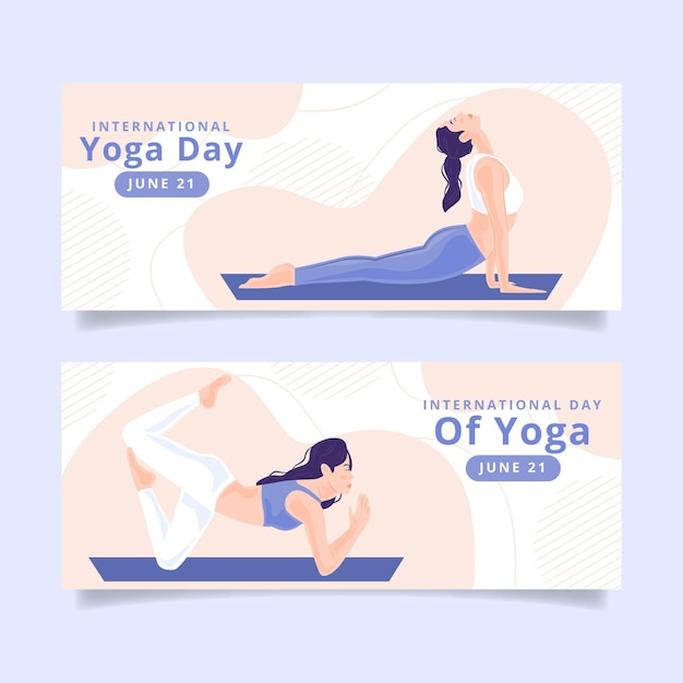 International day of yoga banners design Free Vector