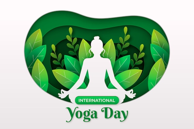 International day of yoga banners in paper style Premium Vector