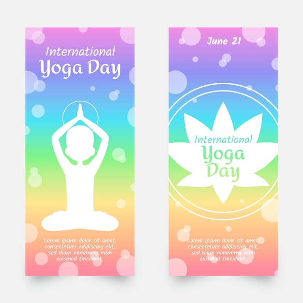 Giorno internazionale dell'insegna di yoga Vettore gratuito