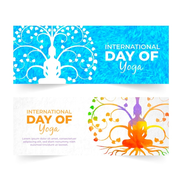 International day of yoga banners theme Free Vector