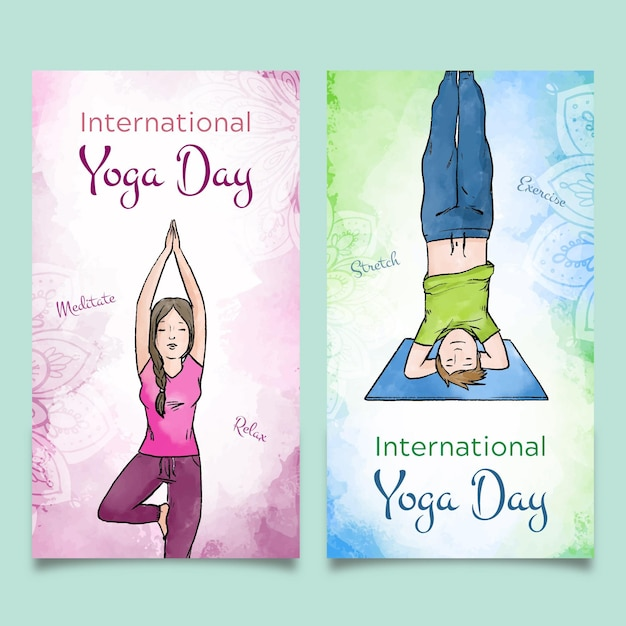 International day of yoga banners Free Vector