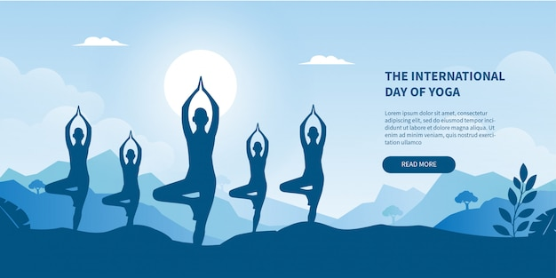 International day of yoga concept gradient banner for landing page Premium Vector