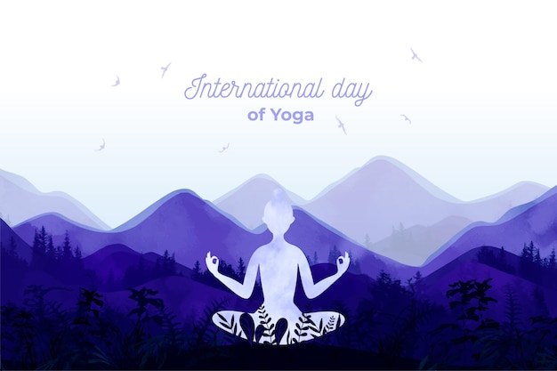 International day of yoga event illustration Free Vector