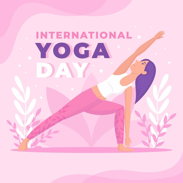 International day of yoga in flat design Free Vector