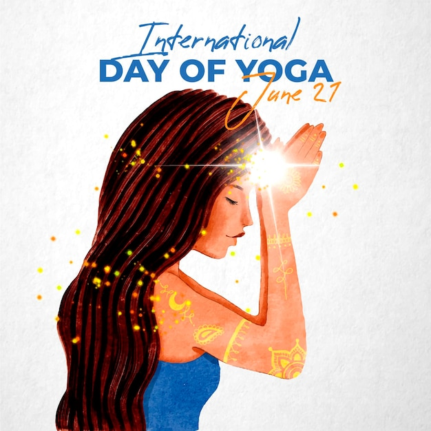 International day of yoga illustrated Free Vector