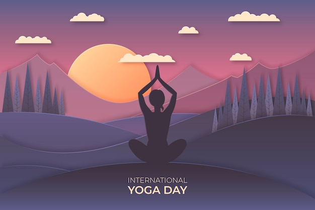 International day of yoga illustration in paper style Premium Vector