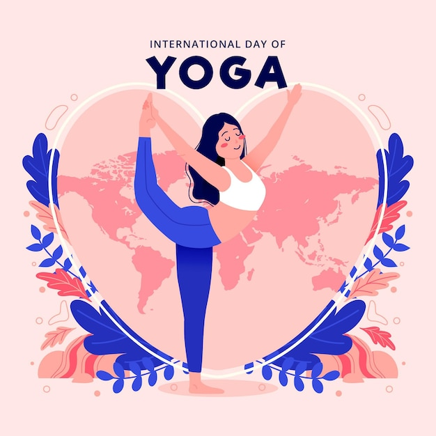 International day of yoga illustration with woman stretching Premium Vector