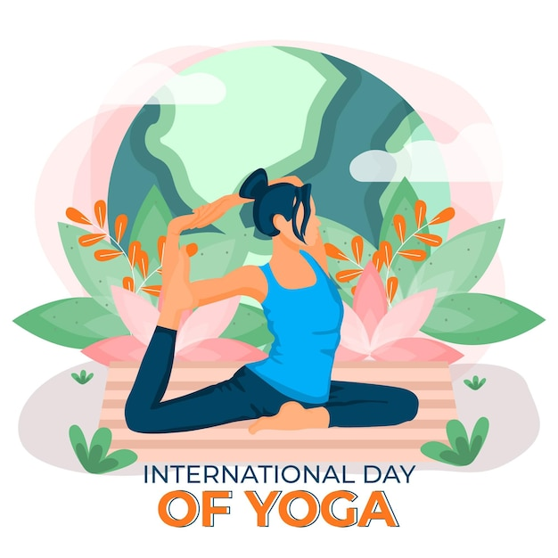 International day of yoga inner peace flat design Free Vector