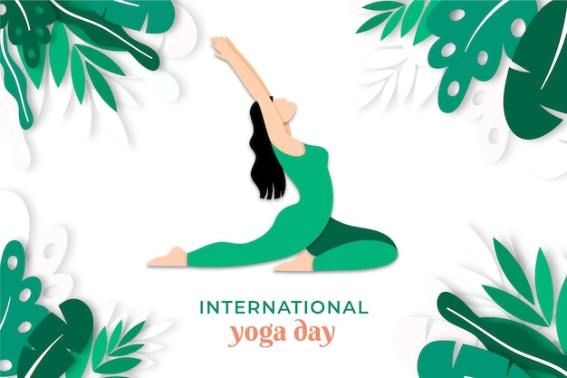 International day of yoga in paper style Premium Vector