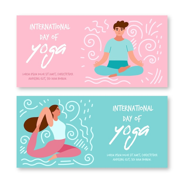 International day of yoga template for banners Free Vector