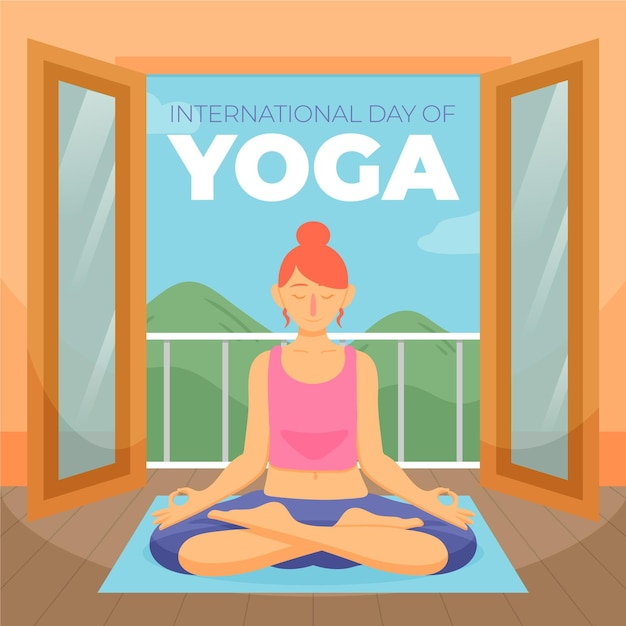 International day of yoga with woman relaxing Free Vector