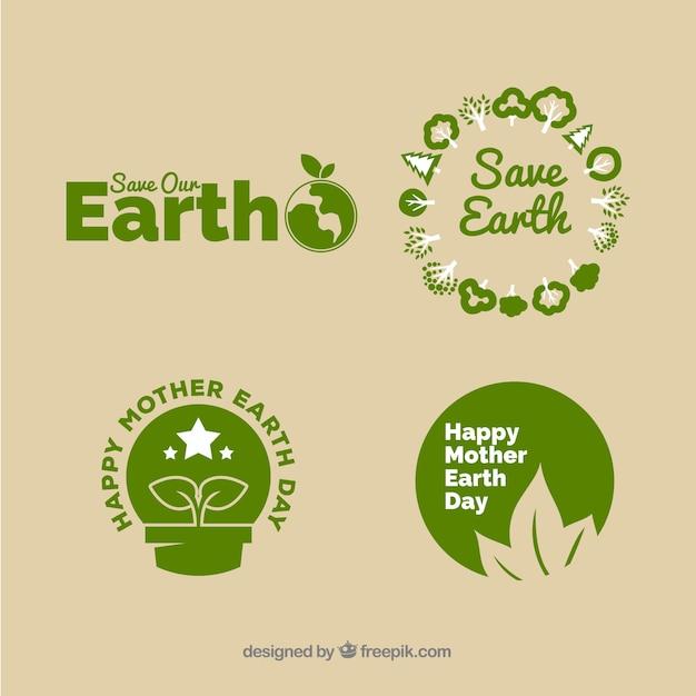 国際地球日バッジコレクション Premiumベクター
