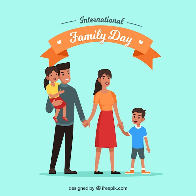 International family day background with happy\ people