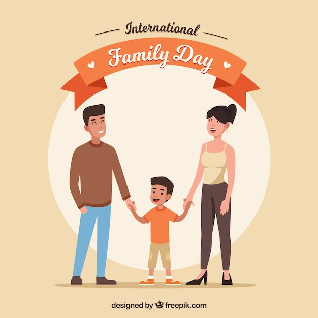 International family day background with happy people Free Vector