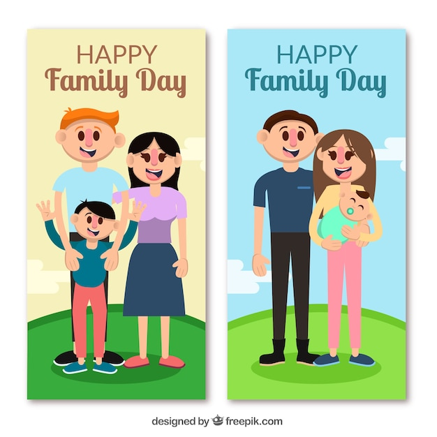 international family day banner with family in\ a hill
