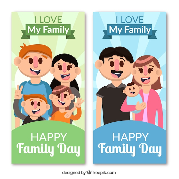 International family day banner with happy\ family