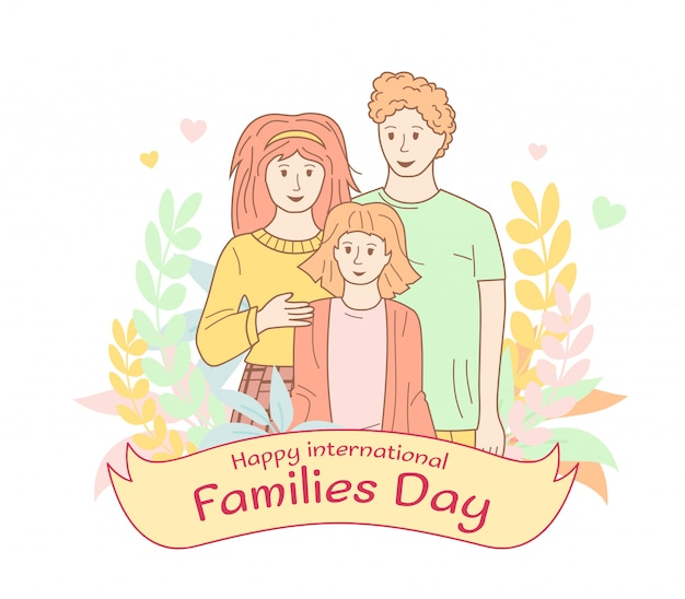 Premium Vector International Family Day Poster Outline Flat Cartoon Style Portrait With Flower Wreath Ribbon