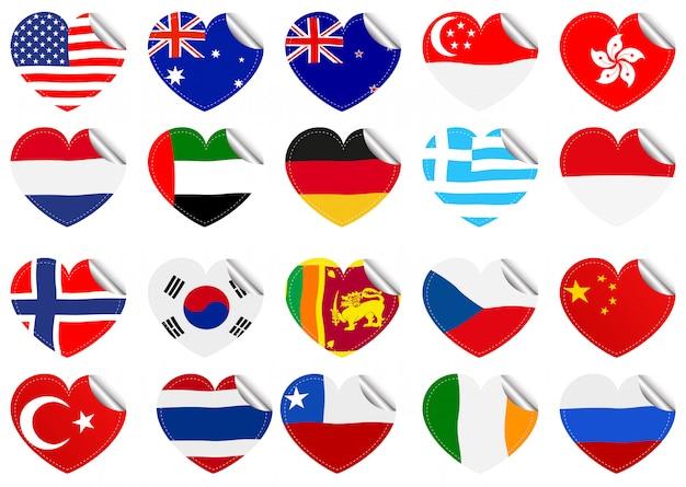 International flags on heart shape Free Vector
