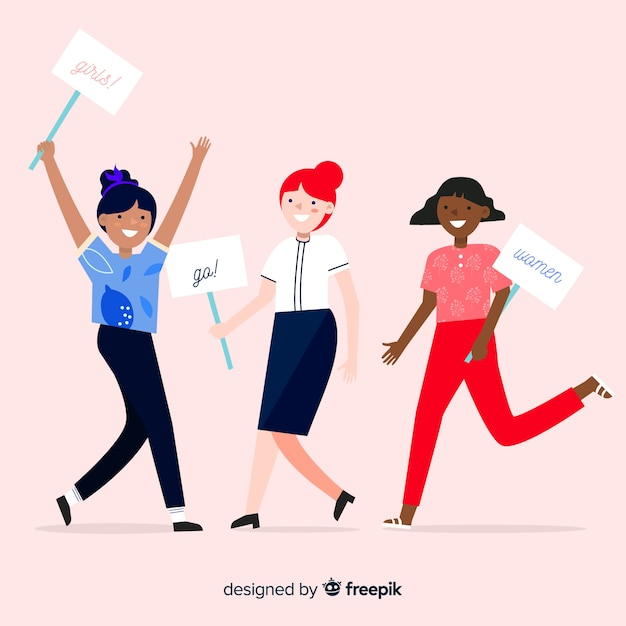 International group of women with flat design Free Vector