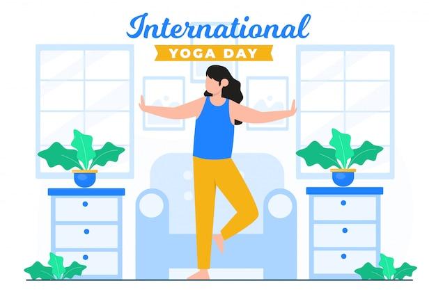 Международный счастливый день йоги Premium векторы