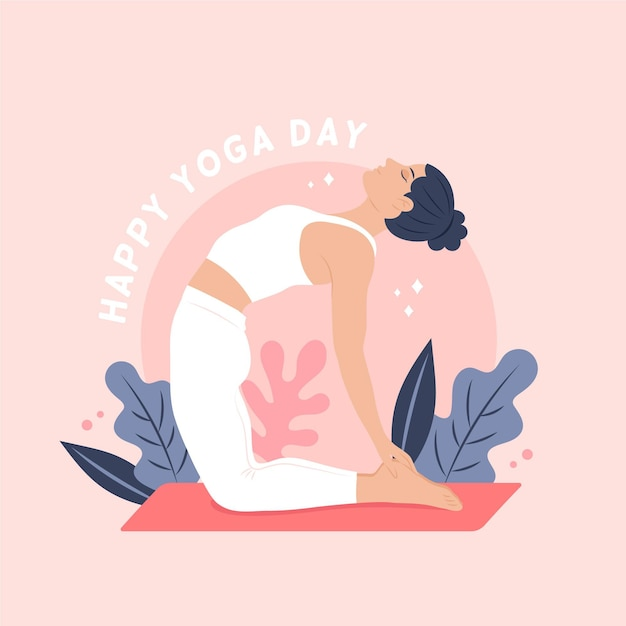 International happy day of yoga Premium Vector