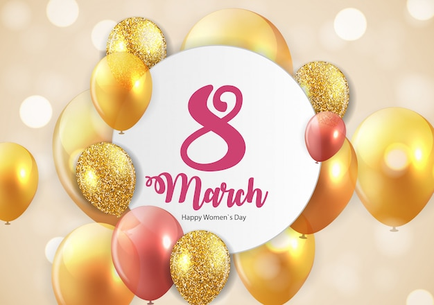 International happy women's day 8 march floral greeting card Premium Vector