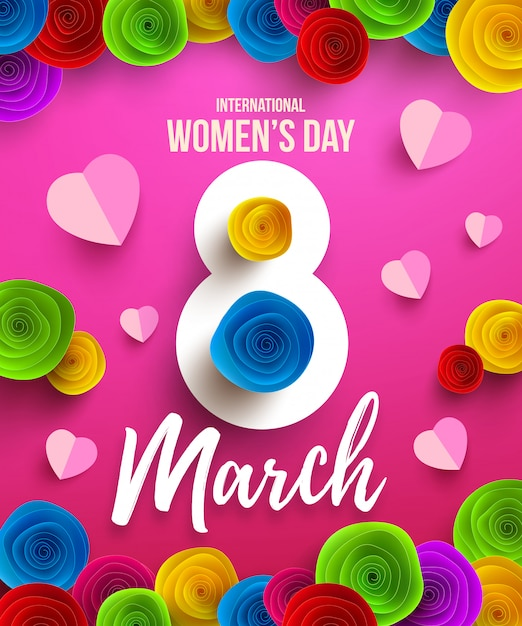 International happy women's day,8 march holiday poster or banner with paper flower.happy mother's day. Premium Vector
