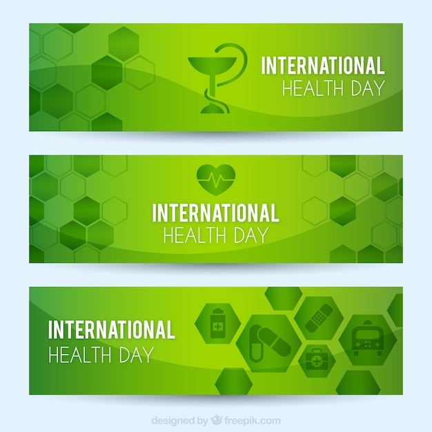 International health day green banners with\ hexagons
