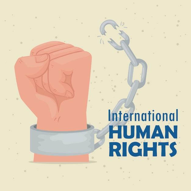 手壊し手袖イラストデザインの国際人権レタリングポスター Premiumベクター