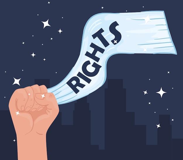 手との戦いのイラストデザインと国際人権レタリングポスター Premiumベクター