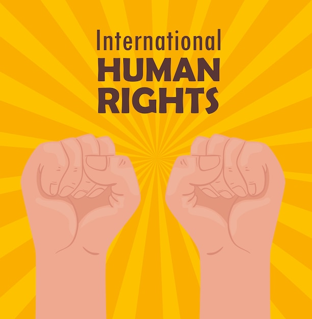 手拳イラストデザインの国際人権レタリングポスター Premiumベクター