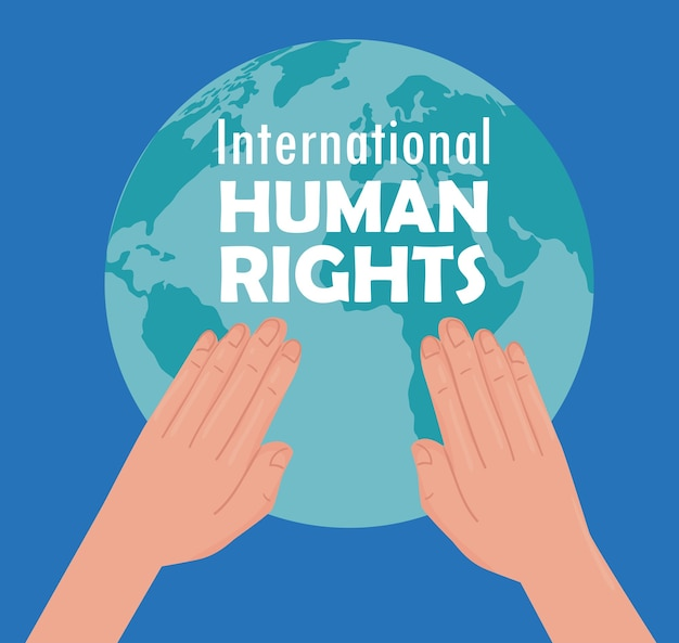 지구 행성 일러스트 디자인을 해제하는 손으로 국제 인권 레터링 포스터 프리미엄 벡터