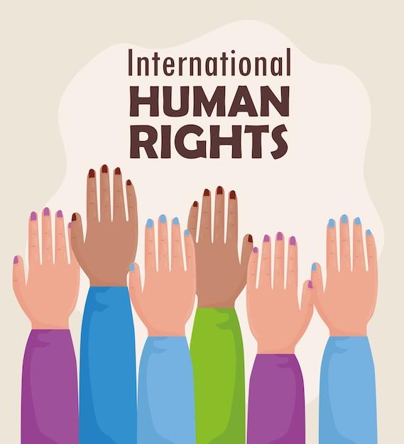 Международный плакат с надписью о правах человека с поднятыми руками Premium векторы