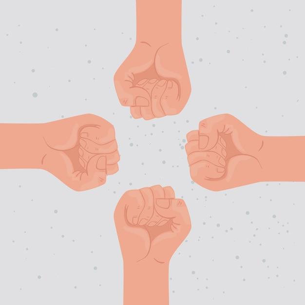 イラストデザインの周りの手拳で国際人権ポスター Premiumベクター